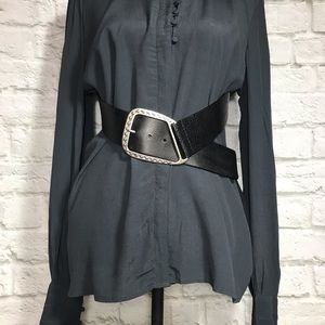 Nine West Black Leather Silver Buckle Boho Belt